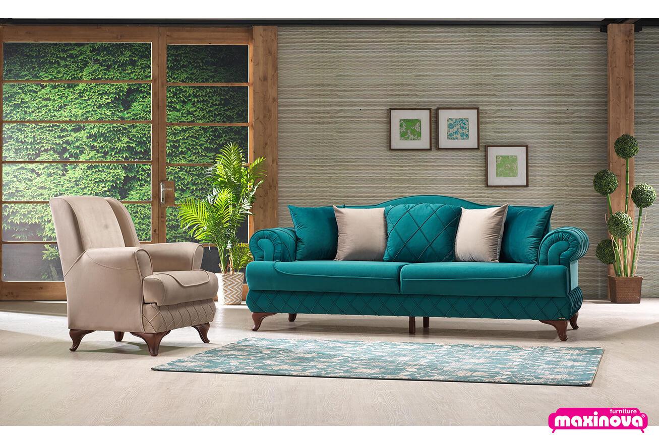 Canapele extensibile - Canapea cu 2 locuri si lada de depozitare, Bianca
