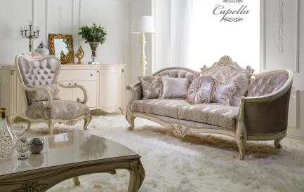 Cum sa creezi un living in stil frantuzesc, baroc cu un set de canapea extensibila si fotolii